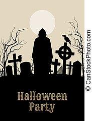 fantasmal, halloween, cementerio, fiesta