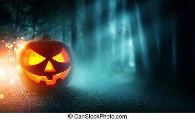 fantasmal, halloween, plano de fondo, y, linterna del gato o