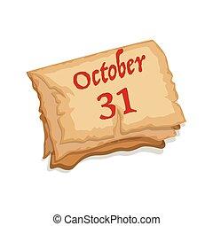 fantasmal, octubre, viejo, caricatura, calendario, papel, 31