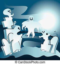 fantasmas, cementerio, caricatura