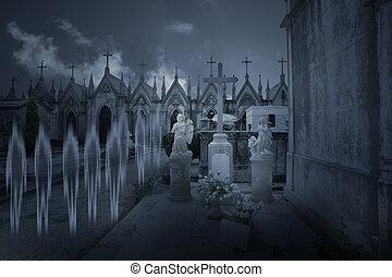 fantasmas, de, un, viejo, cementerio, por, noche