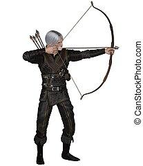 fantasme, archer, vieux, moyen-âge, ou