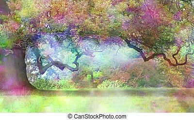 fantasme, coloré, chêne, magique, arbre