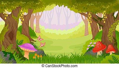 fantasme, dessin animé, forêt