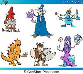 fantasme, ensemble, dessin animé, caractères