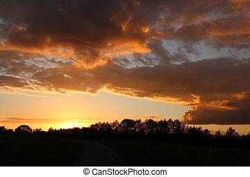 fantasme, nuages, coucher soleil
