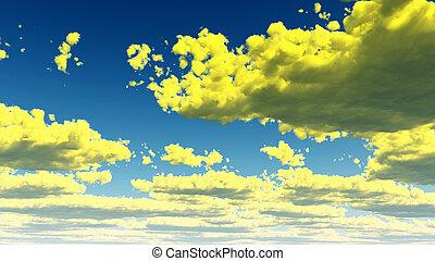 fantasme, nuages, vert, jaune