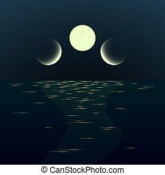 fantasme, nuit, seascape., paysage, gradient, lever lune, ...