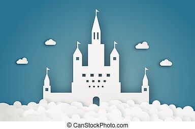 fantasme, papercraft., résumé, ciel, arrière-plan., thème, métier, numérique, origami, château, concept., nuage