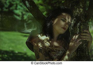 fantasme, reine, dans, argent, et, or, armure, beau, brunette, femme, à, long, manteau rouge, et, cheveux bruns
