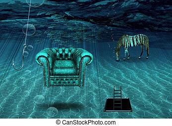 fantasme, scène, sous-marin