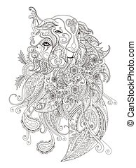 Fantastic adult coloring page, combination of sheep and dog...