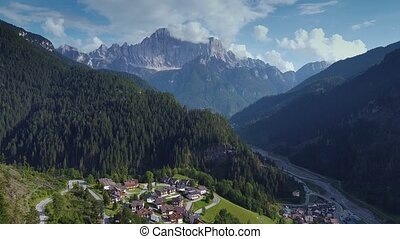 Fantastic aerial view of Dolomites in Italian Alps. There is...