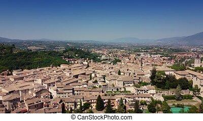 Fantastic aerial view of Italian city. Bright monotonous ...