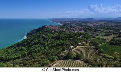 Aerial view of Italian coastal zone with azure sea, forest and city suburbs in the background
