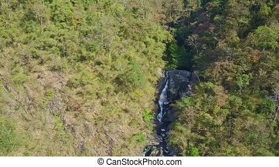 Fantastic Aerial View Waterfall among Tropical Forest