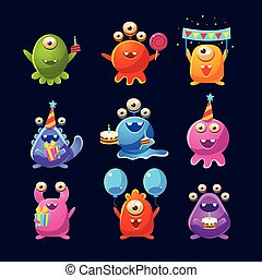 Fantastic Aliens With Birthday Party Objects
