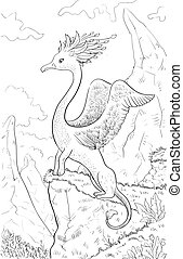 Fantastic animal with head of a bird, body of lion. Coloring page with fantastic animal and fantasy landscape. Original coloring for kids. Hand drawn sketch.