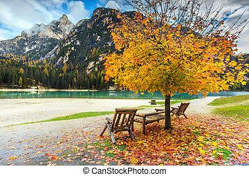 Fantastic autumn landscape, Braies lake in Dolomites, Italy,...