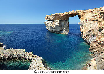 Malta - Fantastic Azure Window, famous stone arch on Gozo...