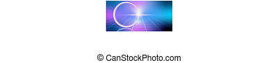 Fantastic background with neon circular line, star and space...