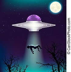 UFO abducts a man - Fantastic background with UFO abducts a ...