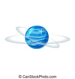 Fantastic blue planet, icon cartoon style, vector isolated for games, applications on white background