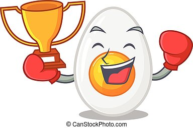 fantastic Boxing winner of boiled egg in mascot cartoon design