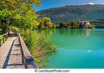 Fantastic Castle Toblino on the shores of lake Toblino, Italy