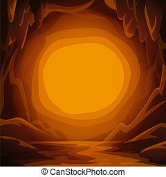Fantastic cavern background. Cartoon cave with stalactites and spotlight copy space for text.