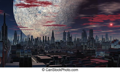 Fantastic city, a huge planet and t