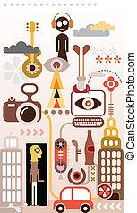 Fantastic city - abstract vector illustration. Virtual...