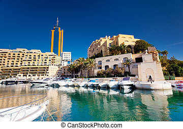 Malta - Fantastic city landscape on the seaside with boats. ...