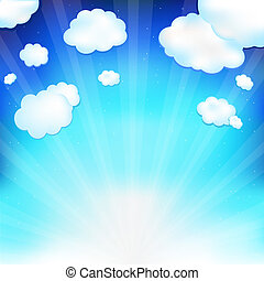 Fantastic Clouds - Beautiful Blue Vector Sky With Clouds,...