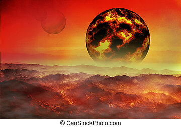 fantastic collage fiery planet on a red sky