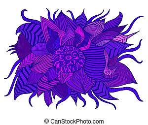 Fantastic colorful decorative flower, purpule, pale lilac, dark blue violet shades color petals