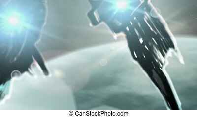 Fantastic combat ships flies to an unknown planet. Science fiction animation. Future technologies.