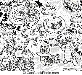 Fantastic creatures, animal pattern in outline. Vector cute background