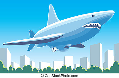 Fantastic dirigible shark flying over the city vector ...