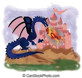 Fantastic Dragon and magic castle,