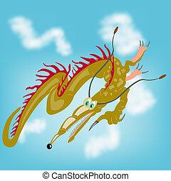 Fantastic dragon in sky