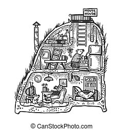 Fantastic fabulous mouse house interior engraving vector...