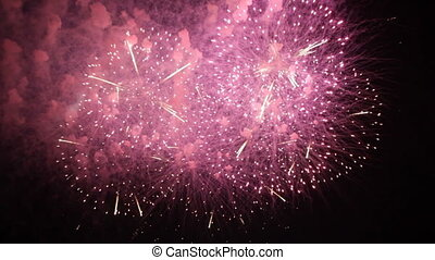 Fantastic Fireworks Exploding On Black Background in Slow...