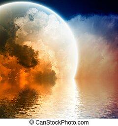 Fantastic glowing sphere in sky