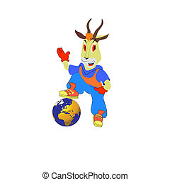 Fantastic goat. Vector illustration - Fantastic goat on a...