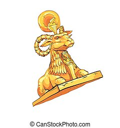 Fantastic Golden sheep from tales. Fantasy sculpture of...