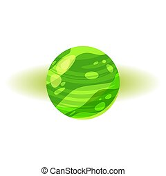 Fantastic green planet, icon cartoon style, vector isolated for games, applications on white background