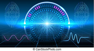 Fantastic HUD display with infographics, electronic circuit, graphs and round diagram