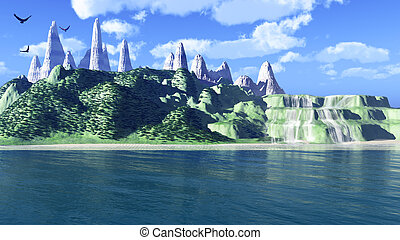 Fantastic island. Snow tops of mountains, green hills and...
