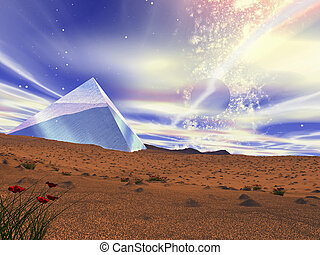 A crystal pyramid in the middle of desert. - Fantastic...